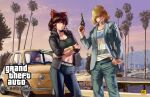 3girls alice_margatroid alternate_costume bangs belt black_bra black_eyes black_pants black_sweater blazer blonde_hair blue_jacket blue_pants bow bra bracelet brown_hair car cigarette city closed_mouth clouds commentary_request cookie_(touhou) cowboy_shot crossed_arms denim grand_theft_auto grand_theft_auto:_san_andreas ground_vehicle gun hair_over_eyes hair_tubes hakurei_reimu hand_in_pocket handgun highres holding holding_gun holding_weapon hollywood_sign jacket jeans jewelry jigen_(cookie) long_hair long_sleeves looking_at_viewer maru_(cookie) megafaiarou_(talonflame_810) motor_vehicle multiple_girls palm_tree pants patchouli_knowledge pistol purple_hair red_bow revolver river short_hair sky smoking sports_bra standing studded_belt sweater taisa_(cookie) teeth touhou tree underwear violet_eyes weapon