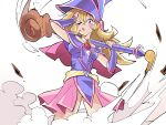 1girl blonde_hair card cowboy_shot dark_magician_girl duel_monster green_eyes hair_between_eyes hand_on_head hat highres holding holding_staff long_hair looking_at_viewer one_eye_closed open_mouth solo staff toot wizard_hat yu-gi-oh!