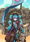 1girl :t aqua_eyes aqua_hair banner black_footwear black_gloves boots chainsword commentary cpt_hamburger crossed_legs crossover elbow_gloves english_commentary femdom flag flat_chest gloves hair_ornament hatsune_miku headset highres human_furniture long_hair looking_at_viewer mechanical_halo multiple_boys necktie sitting sitting_on_person smile smug solo_focus space_marines thigh-highs thigh_boots twintails very_long_hair vocaloid warhammer_40k