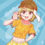 1girl animal_ears arm_behind_back bangs blonde_hair blue_background breasts bright_pupils brown_headwear cabbie_hat collarbone dutch_angle eating eyebrows_visible_through_hair hand_up hat highres holding holding_stick looking_at_viewer midriff navel open_mouth rabbit_ears red_eyes ringo_(touhou) shirt short_hair short_sleeves shorts signature skewer small_breasts smile solo stick striped swept_bangs touhou upper_body upper_teeth vertical_stripes white_pupils yellow_shirt yellow_shorts zanasta0810