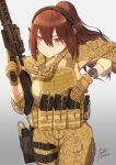 1girl absurdres brown_hair camouflage edzactly gun highres holding holding_gun holding_weapon military_operator original ponytail red_eyes reloading rifle tactical_clothes weapon