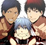 3boys aomine_daiki bangs basketball_uniform black_eyes black_hair black_shirt blue_eyes blue_hair blurry blush clenched_hand closed_mouth clothes_writing collarbone commentary_request dark_skin dark_skinned_male depth_of_field eyebrows_visible_through_hair fist_bump grey_background grin hair_between_eyes hands_on_own_chin head_rest kagami_taiga kuroko_no_basuke looking_at_viewer looking_up male_focus mashima_shima multiple_boys red_eyes redhead shirt short_hair simple_background sleeveless sleeveless_shirt smile sportswear teeth twitter_username white_shirt
