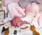 1girl alarm_clock animal animal_print ass bare_arms bed braid cat cat_ear_panties cat_print cellphone clock commentary dongho_kang hidden_face indoors long_hair lying midriff on_bed original panties phone pillow pink_hair pink_panties redhead shirt smartphone solo twin_braids underwear white_shirt