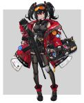 1girl absurdres aer7o ankle_boots assault_rifle bag black_gloves black_hair black_legwear black_skirt boots border breasts cyberpunk d-pad d-pad_hair_ornament duffel_bag eyewear_on_head full_body garters gas_mask gloves grey_background gun hair_ornament highres jacket long_hair looking_at_viewer mask_around_neck medium_breasts miniskirt open_clothes open_jacket orange-tinted_eyewear original outside_border oversized_clothes pleated_skirt red_jacket rifle shooting_glasses single_knee_pad skirt sling solo standing thigh-highs twintails weapon white_border zettai_ryouiki
