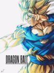 1boy absurdres aura bare_pecs blonde_hair blue_eyes copyright_name dragon_ball dragon_ball_z energy english_text highres looking_to_the_side male_focus muscle orange_pants pectorals salute shirt sleeveless smile solo son_goku spiky_hair sumutemu super_saiyan torn_clothes torn_shirt