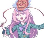 1girl absurdres bangs blue_bow blue_neckwear bow bowtie breasts bright_pupils buttons collared_shirt commentary_request eyebrows_behind_hair gao green_shirt hair_between_eyes hata_no_kokoro highres kame_(kamepan44231) long_hair long_sleeves oni_mask open_mouth pink_eyes pink_hair plaid plaid_shirt shirt sidelocks simple_background small_breasts solo teeth touhou upper_body upper_teeth very_long_hair white_background white_pupils