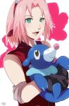 1girl :d black_eyes black_gloves closed_mouth crossover gen_7_pokemon gloves green_eyes hair_intakes haruno_sakura headband holding holding_pokemon jacket naruto_(series) naruto_shippuuden open_mouth pink_hair pokemon pokemon_(creature) popplio red_headband red_jacket rem_sora410 shiny shiny_hair short_hair signature sleeveless sleeveless_jacket smile solo starter_pokemon upper_body white_background