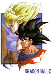 1990s_(style) 1boy aqua_eyes black_eyes black_hair blonde_hair copyright_name dragon_ball dragon_ball_z framed official_art portrait profile saiyan solo son_goku super_saiyan toriyama_akira variations
