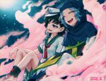 2girls ^_^ anchor anchor_print anchor_symbol bangs black_footwear black_hair blue_hair blurry blurry_background boots breasts closed_eyes clouds commentary_request dated depth_of_field feet_out_of_frame green_eyes hat hood kesa knees_up kumoi_ichirin looking_afar meimaru_inuchiyo multiple_girls murasa_minamitsu parted_bangs red_serafuku sailor_collar sailor_hat sailor_shirt shirt short_hair short_sleeves shorts sitting small_breasts touhou unzan upper_teeth white_shirt white_shorts