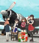 4girls aircraft airplane akagi_(kantai_collection) annin_musou black_legwear blue_sky blush brown_hair character_request closed_eyes clouds hakama_skirt houshou_(kantai_collection) kaga_(kantai_collection) kantai_collection long_hair multiple_girls multiple_views muneate propeller sky smile standing standing_on_one_leg tabi thigh-highs white_legwear wooden_chair zettai_ryouiki