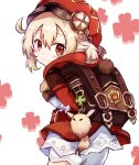 1girl ahoge backpack bag bangs clover dress fukiya_(fumiakitoyama) full_body genshin_impact hair_between_eyes hat hat_feather klee_(genshin_impact) long_hair long_sleeves looking_at_viewer looking_back low_twintails open_mouth red_dress red_eyes red_headwear smile solo twintails white_background white_feathers white_legwear