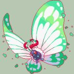 antennae bug butterfly butterfree commentary_request creature fangs full_body gen_1_pokemon gigantamax gigantamax_butterfree grey_background insect jon_(zyagapi) no_humans pixel_art pokemon pokemon_(creature) red_eyes simple_background solo