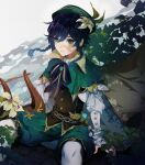 1boy absurdres arm_support bangs black_hair blue_eyes blue_hair blue_ribbon braid cape commentary corset cowboy_shot eyebrows_visible_through_hair flower genshin_impact gradient_hair green_cape green_headwear green_shorts hair_between_eyes hair_flower hair_ornament hat highres holding holding_instrument instrument long_sleeves looking_to_the_side lyre male_focus misshao_00 multicolored_hair pantyhose parted_lips plant ribbon shadow shirt shorts sidelocks sitting solo twin_braids venti_(genshin_impact) vision_(genshin_impact) white_legwear white_shirt