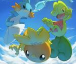black_eyes blue_sky clouds cloudy_sky commentary creature day english_commentary full_body gen_3_pokemon looking_at_viewer mudkip no_humans outdoors pinkgermy pokemon pokemon_(creature) sky starter_pokemon starter_pokemon_trio torchic treecko water