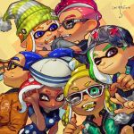6+girls banonefans black_jacket black_mask blonde_hair blue_eyes blush brown_jacket character_request closed_mouth commentary_request dated domino_mask fang glasses goggles green_eyes green_jacket grey_eyes hat hug inkling jacket long_sleeves mask multiple_girls octoling one_eye_closed open_mouth orange_hair pink_hair pointy_ears profile redhead sailor_hat splatoon_(series) splatoon_2 squidbeak_splatoon suction_cups sweatdrop tan tentacle_hair white-framed_eyewear white_headwear yellow_background yellow_eyes