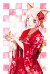 1girl :d animal_ear_fluff animal_ears back_bow bangs boruto:_naruto_next_generations bow checkered checkered_background facial_mark floral_print green_eyes green_nails haruno_sakura highres holding japanese_clothes kimono looking_at_viewer mochiii-s nail_polish naruto_(series) obi open_mouth parted_bangs pink_hair print_kimono red_kimono sash short_hair smile solo standing yukata