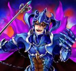 1boy abs armor black_sclera blue_armor blue_eyes breastplate brown_hair cape chain clawed_gauntlets corruption gauntlets gem grand_summoners hair_between_eyes helmet heterochromia holding holding_polearm holding_weapon horned_headwear horned_helmet male_focus open_mouth pauldrons polearm purple_cape red_eyes sanbabasanba shoulder_armor slit_pupils smile solo teeth tongue torn torn_cape torn_clothes vambraces weapon