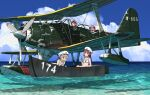 4girls aircraft aircraft_request airplane annin_musou bikini blonde_hair blue_eyes blue_sky clouds fairy_(kantai_collection) goggles goggles_on_head hat kantai_collection multiple_girls ocean seaplane sky swimsuit water z1_leberecht_maass_(kantai_collection) z3_max_schultz_(kantai_collection)