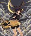 1girl animal_ears banana_mochi bangs black_hair black_shorts clouds commentary crescent detached_sleeves highres holding holding_weapon horns looking_at_viewer moon_al-mi'raj outdoors rabbit_ears red_eyes shadowverse shingeki_no_bahamut short_hair short_shorts shorts single_horn solo standing weapon