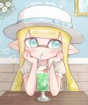 1girl aqua_eyes bangs bendy_straw blonde_hair blue_bow blunt_bangs boater_hat bow cherry commentary cup domino_mask dress drinking drinking_straw elbow_rest english_commentary english_text food fruit hat hat_bow heart highres ice_cream ice_cream_float inkling long_hair looking_at_viewer mask melon_soda pioxpioo pointy_ears puffy_short_sleeves puffy_sleeves short_sleeves solo splatoon_(series) tentacle_hair twitter_username white_dress white_headwear