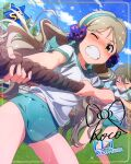 bloomers blush brown_eyes character_name green_eyes handa_roko idolmaster_million_live!_theater_days long_hair sports