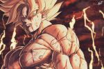 1boy absurdres blonde_hair blood blood_from_mouth blood_on_face blue_eyes dragon_ball dragon_ball_z expressionless highres injury looking_at_viewer male_focus muscle nipples nude pectorals serious solo son_goku spiky_hair sumutemu super_saiyan upper_body veins