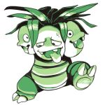 blush claws commentary creature english_commentary exeggutor full_body gen_1_pokemon green_theme lattemonster lowres monochrome multiple_heads no_humans pokemon pokemon_(creature) pokemon_(game) pokemon_rgby pokemon_rgby_(style) simple_background solo walking white_background