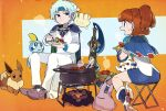 1boy 1girl :d ankle_boots armor blue_footwear blue_hair blue_skirt boots brown_hair campfire cape character_request closed_mouth ditto eating eevee folding_stool gen_1_pokemon gen_6_pokemon gen_8_pokemon headband holding holding_plate honedge kuroi_moyamoya ladle long_sleeves looking_at_another milcery miniskirt open_mouth pants parted_lips plate pointy_footwear pokemon pokemon_(creature) ponytail pot scorbunny shoulder_armor sitting skirt smile sobble spaulders steam sweatdrop white_pants