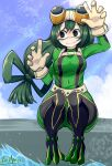 1girl arm_up artist_name asui_tsuyu bangs belt black_eyes black_footwear blue_sky bodysuit boku_no_hero_academia boots breasts closed_mouth clouds commentary covered_navel day eyebrows_visible_through_hair eyewear_on_head facepaint full_body gloves goggles green_bodysuit green_hair hand_up highres jpeg_artifacts knees_up long_hair looking_to_the_side low-tied_long_hair medium_breasts outdoors ryuusui_arumo shiny shiny_clothes shiny_hair signature sitting sky solo sunlight thigh-highs thigh_boots tied_hair water white_gloves