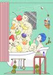 1girl bath bathtub bear cherry claw_foot_bathtub food fork from_side fruit green_background highres kiwi_slice kiwifruit mirror orange orange_slice original pile pineapple pineapple_slice polar_bear profile shelf shower_curtain solo spoon strawberry towel towel_on_head yoshimon