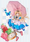 1girl :d alice_(wonderland) alice_in_wonderland animal_ears black_bow blonde_hair blue_butterfly blue_dress book bow bug butterfly clock dress flower frilled_dress frills full_body hair_bow holding holding_umbrella insect kawanobe long_hair looking_at_viewer open_mouth parasol pink_footwear pink_umbrella puffy_short_sleeves puffy_sleeves rabbit_ears ribbon short_sleeves simple_background smile solo striped striped_background striped_legwear umbrella