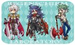 3boys ahoge armor armored_boots assassin_cross_(ragnarok_online) axe bare_pecs belt bio_lab black_cape black_gloves black_pants black_shirt blue_hair blue_pants boots border breastplate brown_belt brown_footwear cape chainmail chibi closed_mouth commentary_request cross dagger emblem eremes_guile fingerless_gloves full_body fur-trimmed_pants fur-trimmed_shirt fur_trim gauntlets gloves greatsword green_hair holding holding_axe holding_sword holding_weapon howard_alt-eisen jamadhar leg_armor long_hair looking_at_another looking_to_the_side lord_knight_(ragnarok_online) male_focus multiple_boys one_eye_closed open_clothes open_mouth open_shirt pants pauldrons piercing piyomaru029 ragnarok_online red_cape red_eyes red_scarf scarf seyren_windsor shirt short_hair shoulder_armor skull spiked_gauntlets standing suspenders sword teeth torn_cape torn_clothes torn_scarf waist_cape weapon white_border white_hair white_shirt whitesmith_(ragnarok_online)