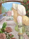 1girl architecture blonde_hair bonnet brick camouflage camouflage_scarf closed_mouth clouds commentary_request crop_top day detached_sleeves flower flower_in_mouth fountain garden grass green_shirt green_sleeves leaning_forward medium_hair outdoors pink_flower ragnarok_online ranger_(ragnarok_online) red_flower rose shirt sky solo stone_walkway susukinohukurou upper_body water white_headwear wolf yellow_flower
