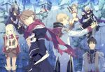 3girls 6+boys armor assassin_cross_(ragnarok_online) back bandana bangs black_blindfold black_cape black_coat black_eyes black_gloves black_hair black_pants black_shirt blindfold blonde_hair blue_cape blue_eyes boots bow bowtie breastplate breasts brown_dress brown_eyes brown_footwear brown_hair building cape capelet clenched_hand closed_mouth coat comiket_78 commentary_request cowboy_shot creator_(ragnarok_online) curled_fingers dress full_body fur-trimmed_footwear gauntlets gloves high_priest_(ragnarok_online) kazunon light_blue_hair living_clothes long_hair long_sleeves looking_at_another looking_at_viewer looking_to_the_side lying mage_(ragnarok_online) multiple_boys multiple_girls open_clothes open_mouth open_shirt paladin_(ragnarok_online) pants pauldrons pelvic_curtain potion pouch ragnarok_online red_bow red_capelet red_scarf red_shirt scarf shirt short_dress short_hair shoulder_armor sitting small_breasts standing stone_wall tongue tongue_out torn_cape torn_clothes torn_scarf two-tone_shirt vial violet_eyes waist_cape wall white_hair white_shirt