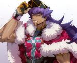 1boy angry bangs baseball_cap cape champion_uniform chariko clenched_teeth commentary dark_skin dark_skinned_male dynamax_band eyelashes facial_hair fur-trimmed_cape fur_trim gloves hat leon_(pokemon) long_hair male_focus muscle partially_fingerless_gloves pokemon pokemon_(game) pokemon_swsh purple_hair red_cape shiny shirt short_sleeves solo teeth veins yellow_eyes
