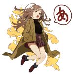 1girl bare_legs black_shirt brown_coat brown_eyes brown_footwear brown_skirt coat floating_hair ginkgo_leaf hands_in_pockets open_mouth original plaid plaid_skirt shio_(s_alt_shio) shirt shoes skirt solo speech_bubble