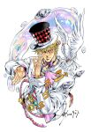 1boy araki_hirohiko_(style) argyle battle_tendency belt bird blonde_hair bow bowtie bubble caesar_anthonio_zeppeli closed_mouth commentary cropped_torso dove eyebrows_behind_hair fabulous facial_mark hair_between_eyes hair_ornament hat jojo_no_kimyou_na_bouken jojo_pose lapel layered_clothing light_smile long_sleeves looking_at_viewer male_focus multicolored_shirt ok_sign one_eye_closed parody pink_neckwear pose sashiyu shirt short_hair signature simple_background solo sound_effects sparkle striped striped_shirt style_parody symbol_commentary top_hat triangle_print upper_body watch watch white_background