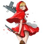 1girl 6maker absurdres apron blonde_hair blood blood_on_face blood_splatter bloody_knife blue_eyes bulleta cape dress dual_wielding evil_grin evil_smile finger_on_trigger from_behind grin gun highres holding holding_gun holding_knife holding_weapon hood hood_up hooded_cape imi_uzi knife looking_at_viewer looking_back red_cape red_dress smile solo submachine_gun thigh_gap vampire_(game) waist_apron walking_away weapon