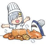 1girl 3toshinhmkz bread chef_hat chef_uniform closed_eyes commentary_request food hair_ornament hair_over_one_eye hairclip hamakaze_(kantai_collection) hat kantai_collection outstretched_arms shark short_hair silver_hair simple_background toque_blanche upper_body white_background