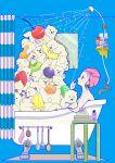 1girl bath bathtub bear blue_background cherry claw_foot_bathtub food fork from_side fruit highres kiwi_slice kiwifruit mirror orange orange_slice original pile pineapple pineapple_slice polar_bear profile shelf shower_curtain solo spoon strawberry towel towel_on_head yoshimon