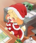 1girl ^_^ animal_crossing animal_ears blush blush_stickers closed_eyes commentary_request dagashi_(daga2626) dog_ears furry hat highres isabelle_(animal_crossing) open_mouth red_headwear red_neckwear red_ribbon ribbon santa_costume santa_hat smile solo tail upper_teeth