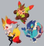 black_eyes braixen commentary_request creature extyrannomon frogadier full_body gen_6_pokemon grey_background highres holding holding_stick looking_at_viewer no_humans pokemon pokemon_(creature) quilladin red_eyes simple_background starter_pokemon starter_pokemon_trio stick yellow_eyes