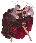 1girl blue_eyes breasts cinderella_(sinoalice) dark_skin dress elbow_gloves flower frills full_body garter_straps glass_slipper gloves hair_flower hair_ornament hair_over_one_eye holster ji_no large_breasts long_hair looking_at_viewer official_art petals purple_hair sinoalice solo thigh_holster thigh_strap transparent_background very_long_hair