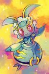 closed_mouth commentary creature english_commentary extyrannomon eyelashes full_body gen_7_pokemon magearna magearna_(normal) mythical_pokemon no_humans open_arms pink_eyes pokemon pokemon_(creature) smile solo sparkle
