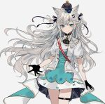 1girl animal_ear_fluff animal_ears bangs black_gloves blue_eyes blue_flower blue_rose blush breasts chiemo_(xcem) floating_hair flower gloves grey_background hair_flower hair_ornament hat idol_clothes looking_at_viewer mini_hat open_hands original rose silver_hair small_breasts solo white_flower white_rose