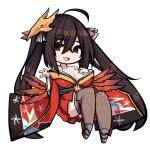 1girl ahoge azur_lane bangs bare_shoulders black_hair black_legwear breast_suppress breasts chibi collarbone dress eyebrows_visible_through_hair full_body hair_between_eyes large_breasts long_hair looking_at_viewer mirai_nikki open_mouth red_dress red_eyes simple_background smile solo sugoidere taihou_(azur_lane) thigh-highs twintails upper_teeth very_long_hair white_background yandere