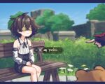2girls animal bandages bandages_over_eyes bare_shoulders bear bench black_gloves black_neckwear blind blush brown_hair closed_mouth detached_sleeves fingerless_gloves flower freckles gameplay_mechanics genshin_impact gloves hair_between_eyes multiple_girls original outdoors pointing poka_(popopoka) popopoka short_hair sitting smile solo_focus tree white_flower xiangling_(genshin_impact)