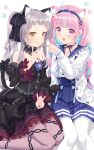 2girls :3 :p :q anchor_hair_ornament animal_ears black_dress black_ribbon blue_hair blue_nails braid brown_eyes cake cat_ears cat_girl cat_tail chain_print choker colored_inner_hair cream cream_on_face detached_sleeves double_v dress fingernails food food_on_face fork frilled_choker frills gothic_lolita grin hair_ornament hairband halter_dress high-waist_skirt highres holding holding_fork hololive jacket knees kooh_ku legs licking_lips lolita_fashion long_hair looking_at_viewer minato_aqua multicolored_hair multiple_girls murasaki_shion nail_polish pantyhose paw_background pink_eyes pink_hair pink_legwear ribbon sailor_collar silver_hair simple_background sitting skirt smile tail tongue tongue_out twin_braids twintails two-tone_hair v very_long_hair white_background white_jacket white_legwear yokozuwari