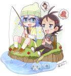 2boys fishing gen_8_pokemon glasses goh_(pokemon) highres hutao_poke james_(pokemon) multiple_boys pokemon pokemon_(anime) purple_hair sobble team_rocket watch woollen_cap