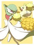 absurdres bird commentary_request creature gardevoir gen_3_pokemon gen_7_pokemon highres jahana_mei looking_at_another open_mouth oricorio oricorio_(pom-pom) pokemon pokemon_(creature) red_eyes smile tongue yellow_background